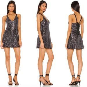 Free People   Gold Rush Mini Dress in Night Combo